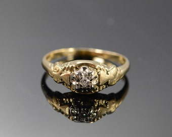 14K 0.03 Ct Diamond Antique Engagement Ring Size 5.5 Yellow Gold