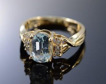 14K 1.45 CTW Aquamarine Diamond Ring - Size 6.25 / Yellow Gold - EM2099