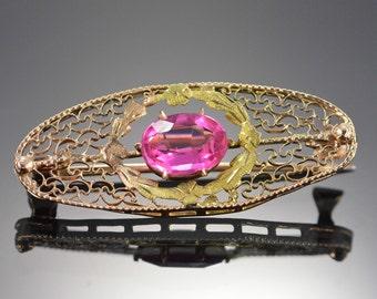 10K Vintage Pink Spinel Filigree Pin/Brooch Rose Gold