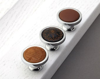 Wooden Leather Knob Drawer Knob Pull Handle Door Knob Handle Dresser Knob Kitchen Cabinet Knob Pull Cupboard Knob Furniture Hardware Silver