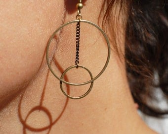 Earrings two brass rings