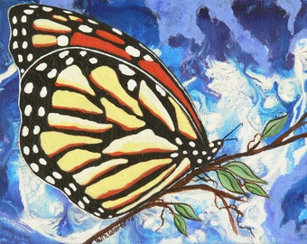 Monarch Butterfly ACEO Card, ACEO Acrylic Print, Artist Trading Card, ACEO Matted Art Print, Miniature Butterfly Illustration, Nature, Bug