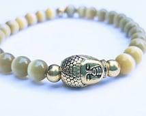 Green cats eye brass buddha head 6mm beaded genuine gemstone bracelet