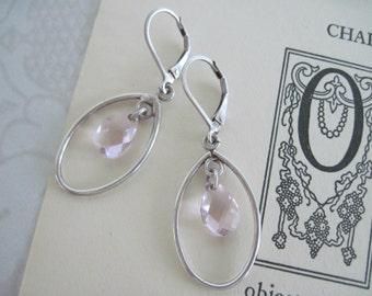 Sterling Silver Dangle Earrings, Silver Pink Stone Earrings, Vintage Sterling Silver Earrings