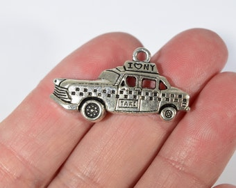 4 New York taxi cab charms | NY taxi charms | taxi cab charms | I love New York charms | New York City charms | NYC charms | SC850