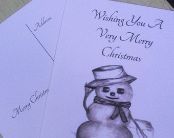 Christmas Postcard / Snowman Postcards / Holiday Postcards / Seasonal Postcards / Black and White Postcards / Art  set of 16