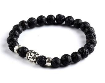 Genuine Lava Stone Buddha Bracelet