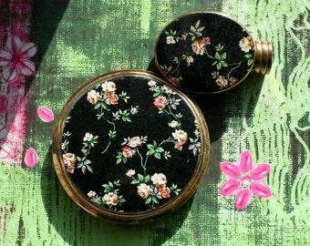 Vintage Kigu Floral Black Enamel Powder Compact Lipstick Holder Mirror Matching Set 1970s