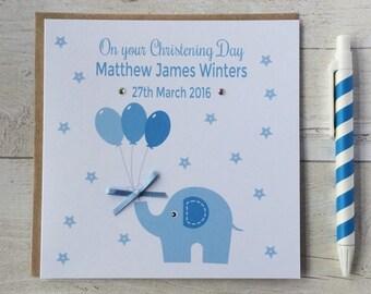 Personalised Christening, Baptism, Naming Day Card with Blue Elephant - Godson, Grandson, Son, Nephew, Brother (LB064)