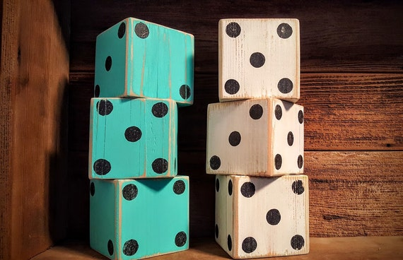 Dice, Lawn Dice, Yard Dice, Backyard Dice, Yardzee game, Lawn Games, Picnic Games, Large Dice, Rustic Home decor, Wood Dice, Reclaimed wood
