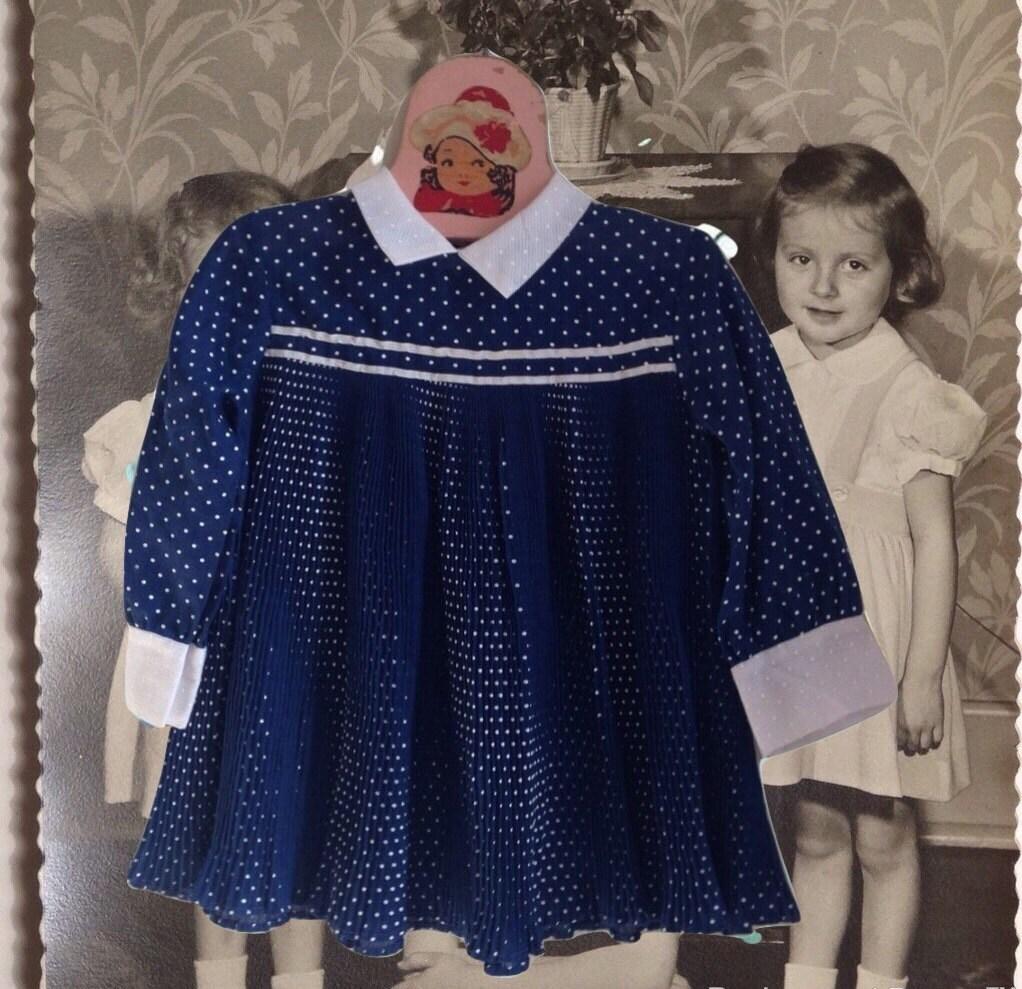 Vintage Baby Girl Dress Pleats Navy Blue White Polkadots Mini
