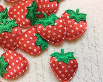 SET of 20 Red Satin Polka Dotted Padded Strawberry Appliques