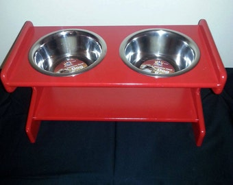 Red Medium Elevated MDF Pet (x2) Bowls Stand, Raised Dog Bowl Stand, Dog Bowl Stand