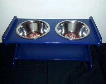 Blue Medium Elevated MDF Pet (x2) Bowls Stand, Raised Dog Bowl Stand, Dog Bowl Stand