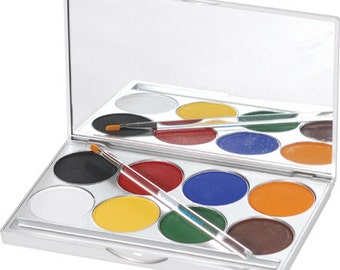 Professional Face Paint Basic Palette/ Theatrical Face Paint Palette/ Mehron Cake Make Up/ 8 Color Professional Make Up