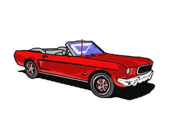 Classic Mustang Convertible Embroidery Design 4x4 hoop