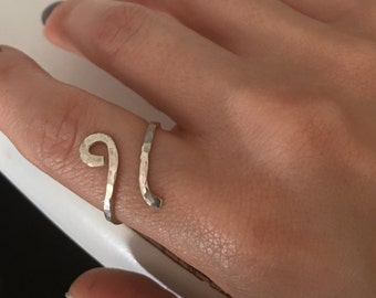 Whirl sterling silver open ring