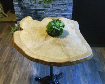 Bistro table slice of wood, bar table, bar table, wooden table, cast iron, cast iron table