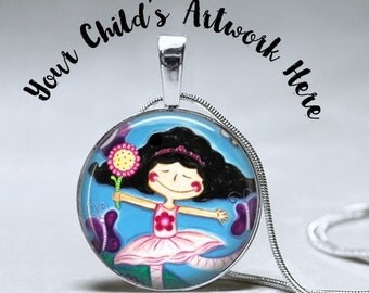 Grandma Gift -Mother Gift -Child's Artwork Custom Necklace  - Custom Personalized Art Necklace- Custom Gift for mom grandma