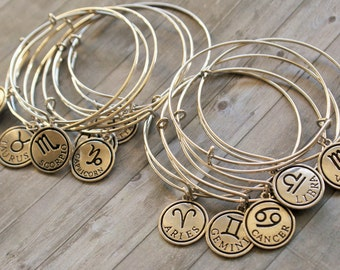 Bangle Bracelet, Zodiac Charm Bracelet, Charm Bangle, Astrology Jewelry, Gifts for Her, Gift Under 20