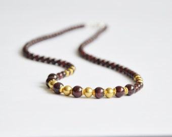 Garnet necklace burgundy color, 45cm