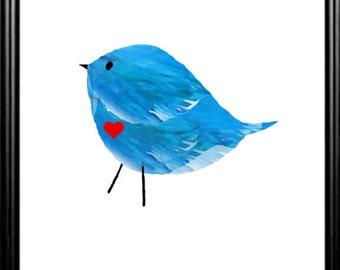Bluebird digital nursery print wall art, INSTANT DOWNLOAD