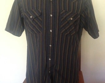 1970's Striped Pearl Snap Western Shirt