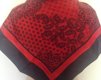 Christian Dior Black & Red Silk Scarf