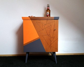 Furniture machine à coudre restyled vintage orange and grey anthracite