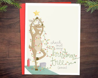 Yoga Christmas Tree Pose Card 1 Or 5 Pack
