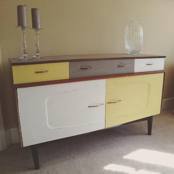 Mid Century Lebus Scandinavian Style Sideboard Cupboard Yellow