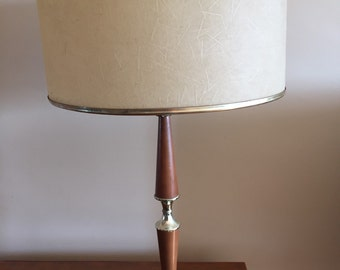 A Mid Century Modern Lamp with Fibreglass Lamp Shade.