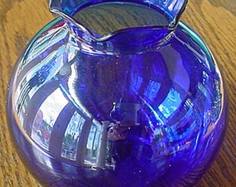 Cobalt Blue Round Glass Vase, Scalloped Top