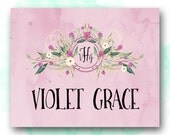 Personalized Girl's Name Printable, Nursery Decor, Baby Girl Name Wall Art, Choice of Color, Monogram Name Print, Pretty Plus Paper
