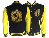 Vintage style Harry potter Inspired Hufflepuff House varsity jacket with gold emblem in front and back.  Amazing!