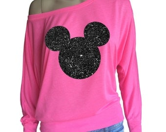 Ladies flow of the shoulder Long Sleeve neon pink t-shirt with black glitter Mickey Mouse head. Amazing!