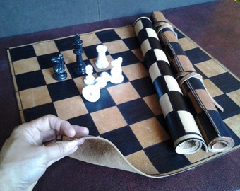 """Roll up Premium Leather chess board Standard Tournament size with 2-1/4"""" squares"""