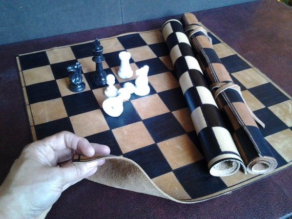 Roll Up Premium Leather Chess Board Standard Tournament Size
