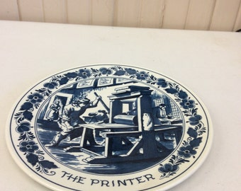 Delft Blue Plate Titled The Printer