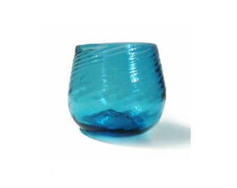 "Beautiful Blue Handblown Glass, Container, Vessel, Linear Pattern, Pontil Mark on Bottom, Charming Folk Art, Craft Appeal, 3-1/4"" Tall"
