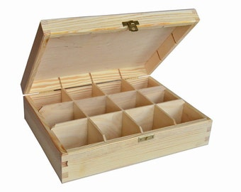 Plain Wood Wooden Tea Bag Box 12 Compartments