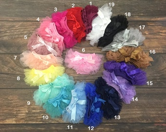 Baby Tutu Ruffles Bloomers -Chiffon Ruffle Bloomer-Newborn Photography Props from New born to 18 months-19 Colors!