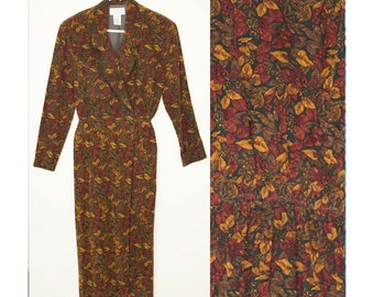 Vintage, 80's, 1980's, retro, pinecone, holiday, earthy, kitsch, dress, small, sm, xs,