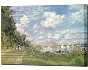 Claude Monet Marina at Argenteuil Canvas Wall Art Print Picture Framed Ready To Hang Wall decor
