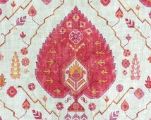 Fabric by the Yard - Pillows - Drapery - Valance - Upholstery - Richloom Aubusson - Pink, Coral, Linen