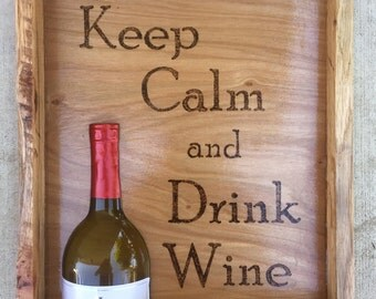 Keep Calm and Drink Wine, Shadow Box, Wine Sayings, 3D art, Wooden Wine Art, Wine decor, Wine Enthusiast,