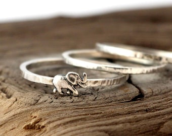 Elephant ring sterling silver. Tiny sterling silver set of 3 rings, stacking ring, hammered band ring