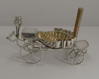 Antique English Novelty Cigar Cart / Server c.1890