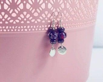 Purple Lampwork Glass Earrings - Sterling Silver Disc Earrings - Glass Earrings - Handmade Beads - Artisan Droplet Earrings - UK Made