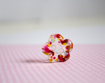 Lampwork Buttons - Glass Button - Flower Button - Haberdashery - Crafters - UK Artisan Handmade - Spring Summer - Floral Brights - Unique